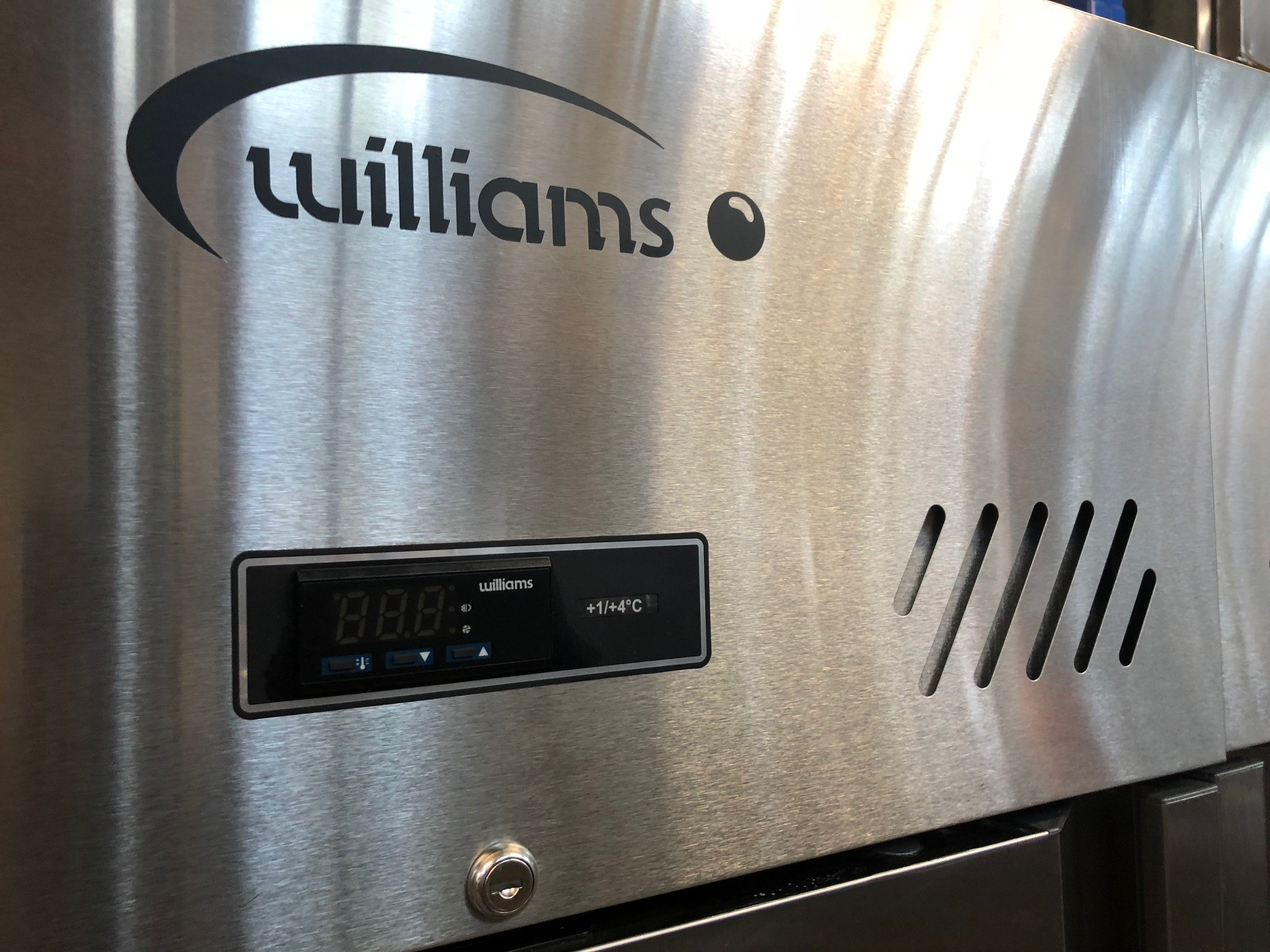 Williams Double Door Upright Fridge Stainless Steel