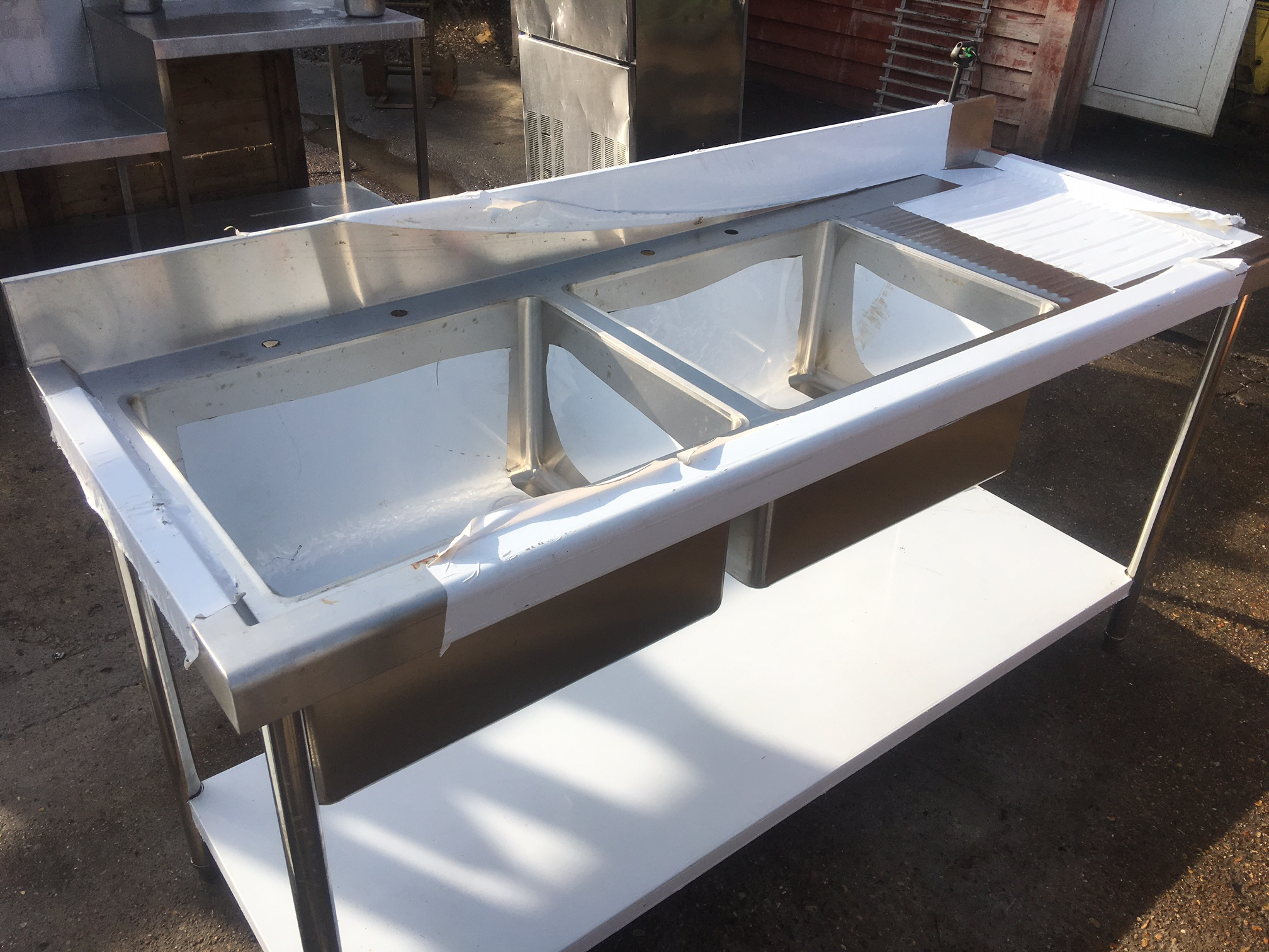 Stainless Steel Commercial Sink With Double Bowls Used