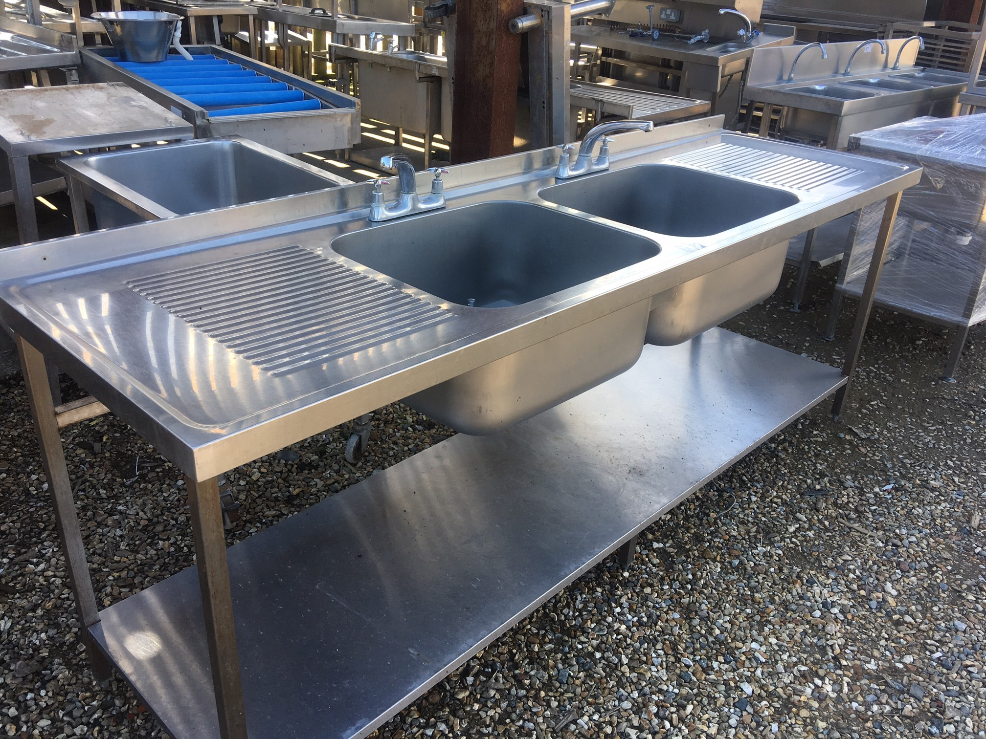 Stainless Steel Commercial Sink With Double Bowls